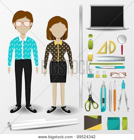 Architect Or Interior Designer Uniform Clothing, Stationary And Accessories Tool Icon Collection Set
