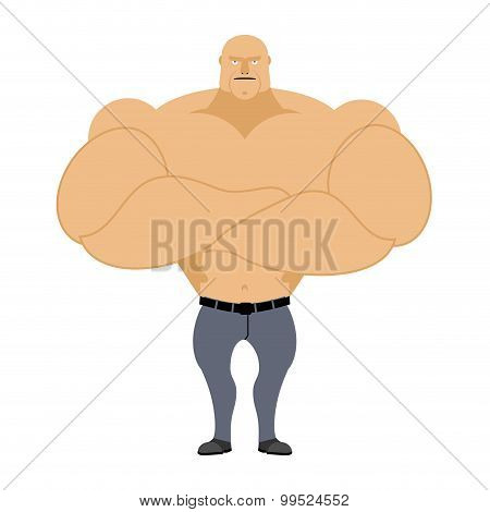 Strong Man. Bodybuilder, Athlete On A White Background. Man With Big Muscles In Grey Jeans. Vector I