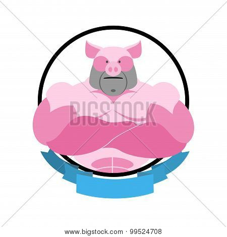 Angry Pig Round Emblem. Big Boar Bodybuilder. Vector Logo Farm Animal.