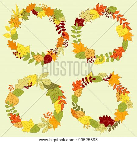 Autumn forest leaves wreaths and frames
