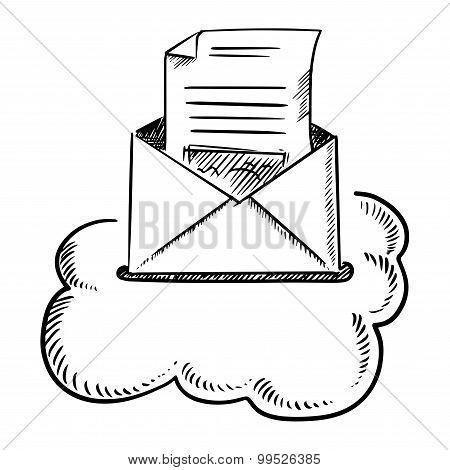 Open e-mail letter in cloud