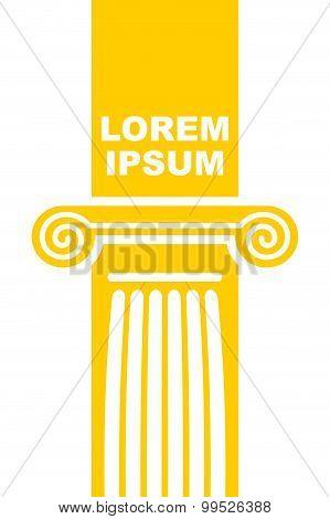 Architectural Logo. Element Of Greek Columns Capital. Vector Emblem