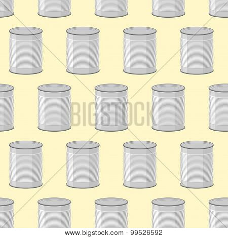 Canned Seamless Pattern. Background Of Cans For Food.