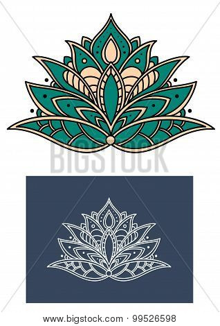 Emerald paisley flower with shaped petals