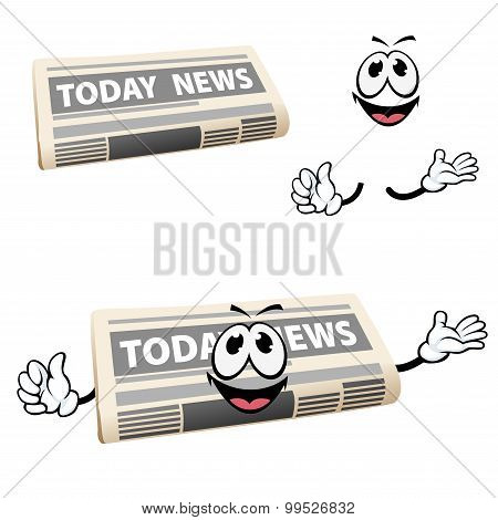 Cartoon news newspaper icon with hands