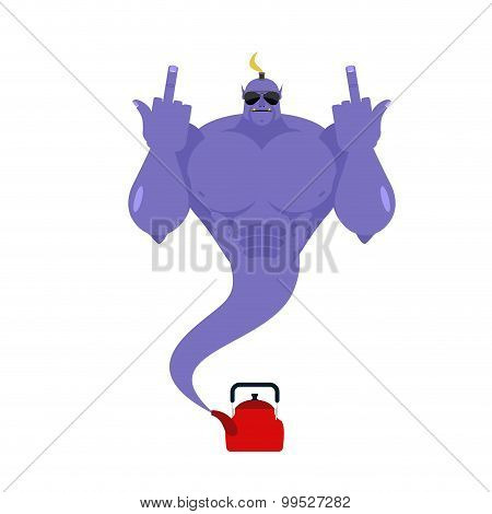 Genie Bully From Red Kettle. Bad Purple Magic Spirit Shows Middle Fingers. Genie For Hooligans.