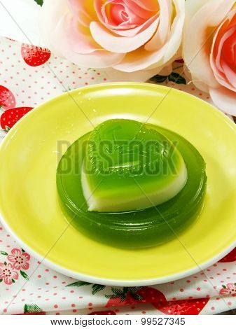 Homemade Green Pandan And Coconut Milk Jelly Heart Sweet Desser