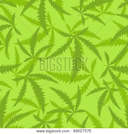Marijuana Seamless Pattern. Background Of Narcotic Plant.