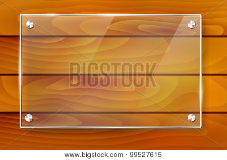 Transparent Shiny Glass Frame And Wooden Background