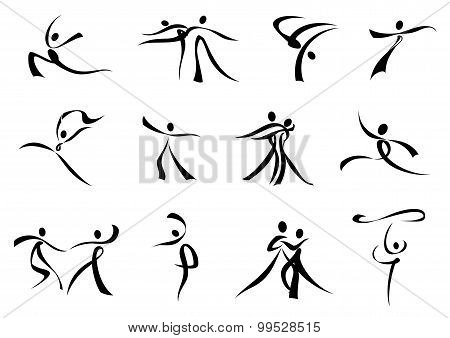 Abstract black icons of dancing people