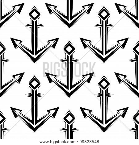 Stylized nautical anchors seamless pattern