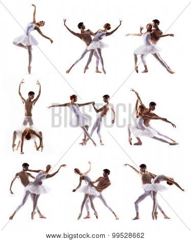 Collection of ballet dancers isolated on white. Man and woman dancing.