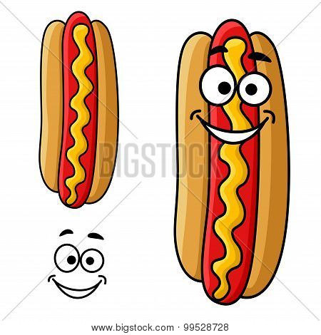 Cartoon hot dog with mustard