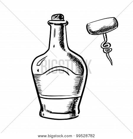 Sketch of whiskey with corkscrew