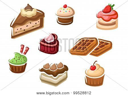 Cupcakes, cakes, dessert and waffles