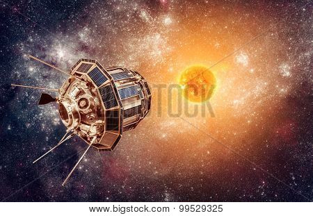 Space satellite on a background star sun. Elements of this image furnished by NASA.
