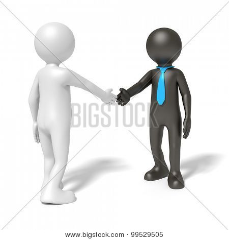 An image of a black and a white man shaking hands