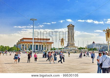 Beijing, China - May 19, 2015: People Near Monument To The People's Heroes On Tian'anmen Square - Th