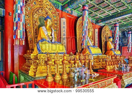 Interior View Of Yonghegong Lama Temple.beijing. Lama Temple Is One Of The Largest And Most Importan