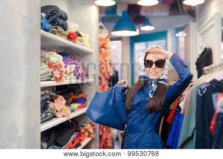 Happy Girl in Blue Trench Coat and Sunglasses Shopping