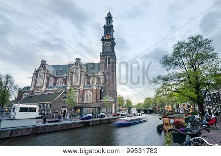 Amsterdam, Netherlands - May 7, 2015: People At Westerkerk In Amsterdam