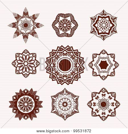 Henna Tattoo Design Element Mehndi Flowers.