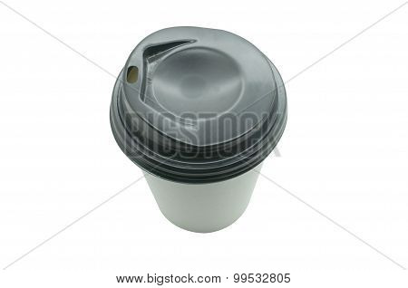 White paper coffee cup with black plastic lid