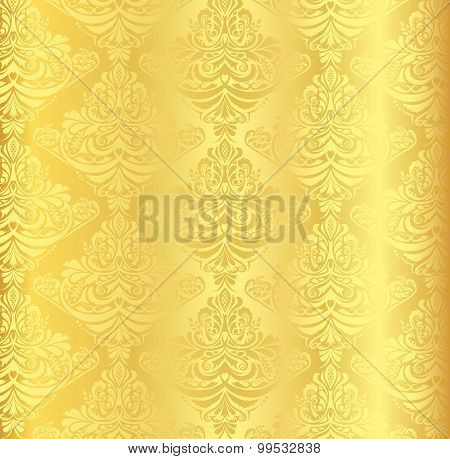 Gold Damask Pattern With Vintage Floral Ornament