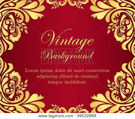 Golden Vintage Background With Floral Frame