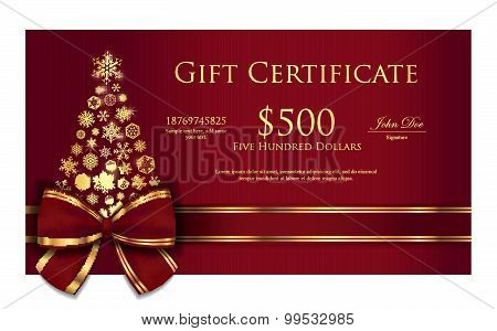 Christmas gift certificate with golden or silver ribbon and snowflakes