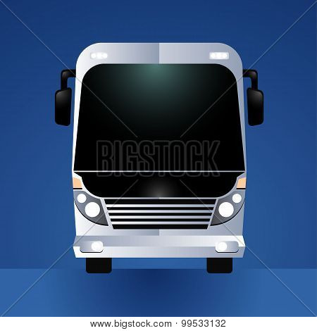 Front view of big White tour bus vector illustration isolated on blue background