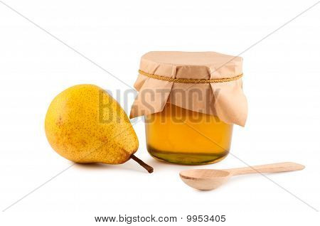 Honey, Pear, Wooden Spoon Isolated On White Background.