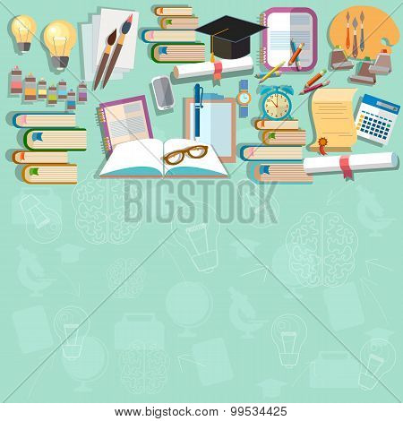 Education Background Diploma Exams Back To School College Campus Study Student vector concept