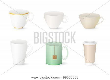 Collection of various cups isolated on white background