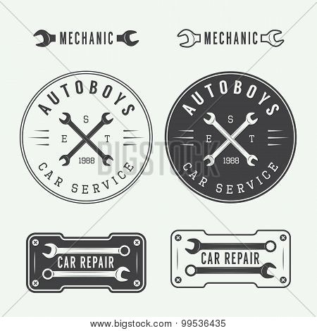 Set Of Vintage Mechanic Labels, Emblems And Logo.