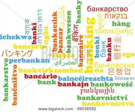 Background concept wordcloud multilanguage international many language illustration of banking