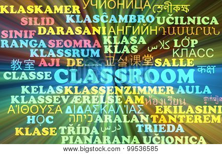 Background concept wordcloud multilanguage international many language illustration of classroom glowing light