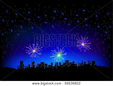 Firework In Sky On City Scape