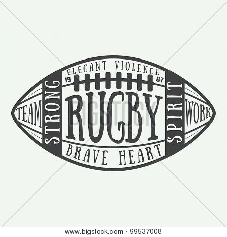 Rugby Or American Football Ball With Typography. Vector Illustration With Lettering