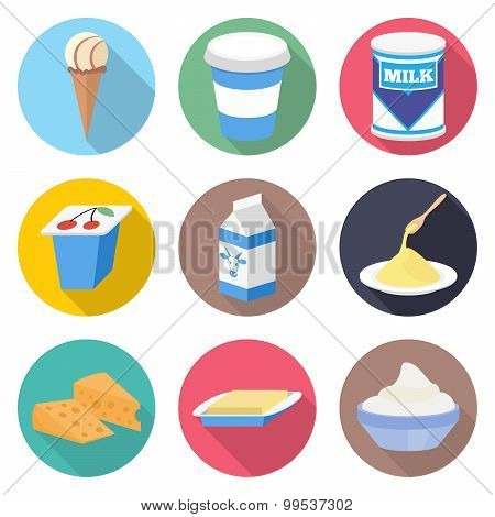 Milk products vector icon set