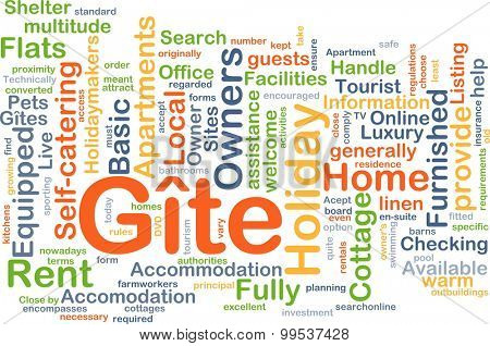 Background concept wordcloud illustration of gite
