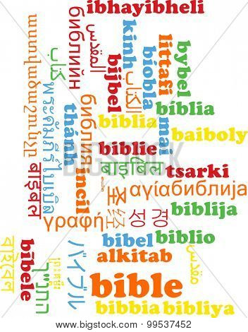 Background concept wordcloud multilanguage international many language illustration of bible