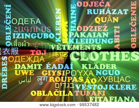 Background concept wordcloud multilanguage international many language illustration of clothes glowing light