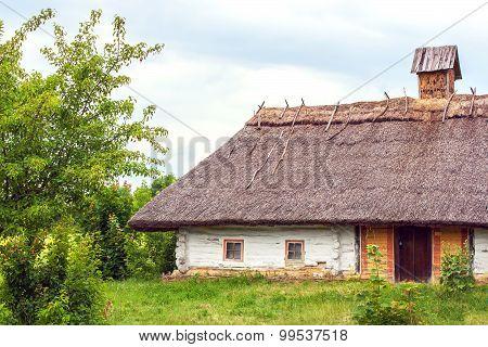 Ukrainian Hut Thatched Sloping Field Near