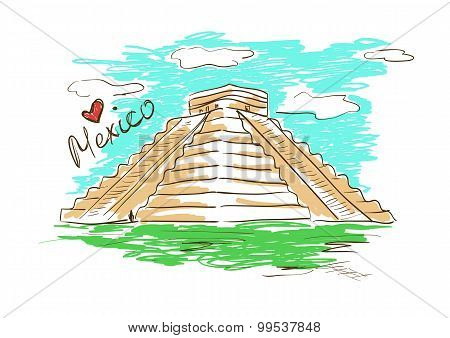 Sketch Illustration Of Chichen Itza Mayan Pyramid In Mexico.