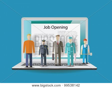 Business people staying on notebook. Job concept. Vector illustration