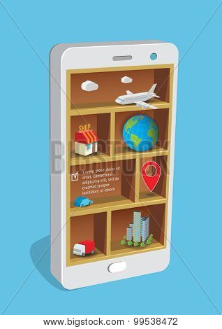 Design concept smart pone with shelves and business items.