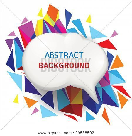 Speech bubble on abstract background with polygons. Vector illustration.
