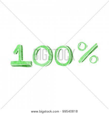 retro cartoon 100% sign
