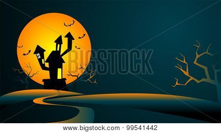 Halloween Background with the mysterious house against the big moon